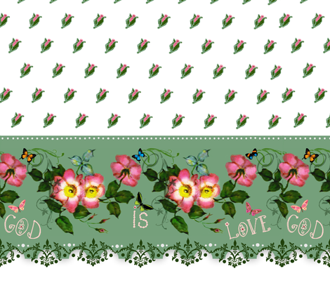 God is Love rosebud border print fabric by paragonstudios on Spoonflower - custom fabric