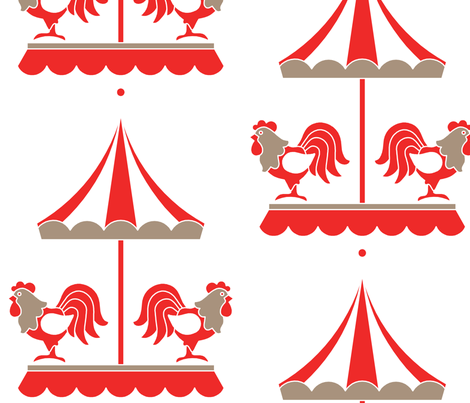 Red Carousel fabric by newmomdesigns on Spoonflower - custom fabric