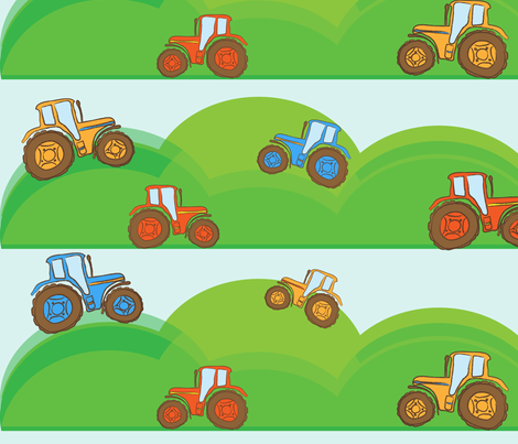 Hill Tractors fabric by mondaland on Spoonflower - custom fabric