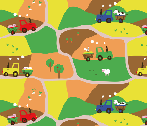 I ♥ Tractors fabric by bellebo on Spoonflower - custom fabric