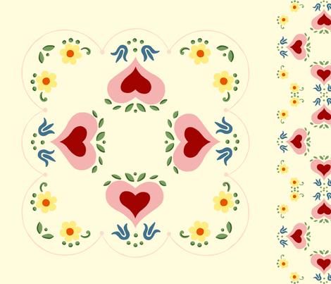 Dutch Hearts  fabric by juliamonroe on Spoonflower - custom fabric