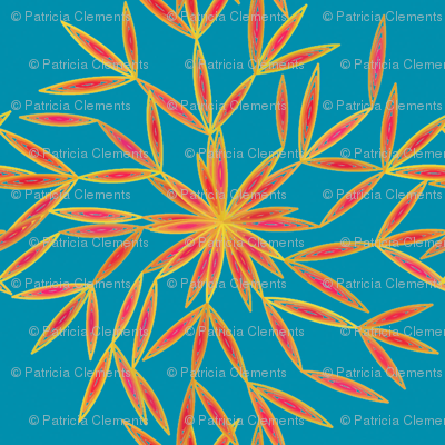 Snow Flower Orange & Teal Blu