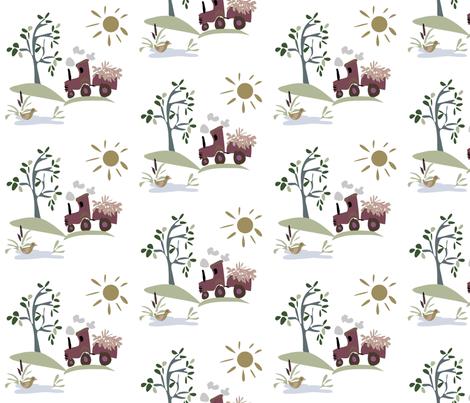 Sunshine Tractor fabric by ikki_pokki on Spoonflower - custom fabric