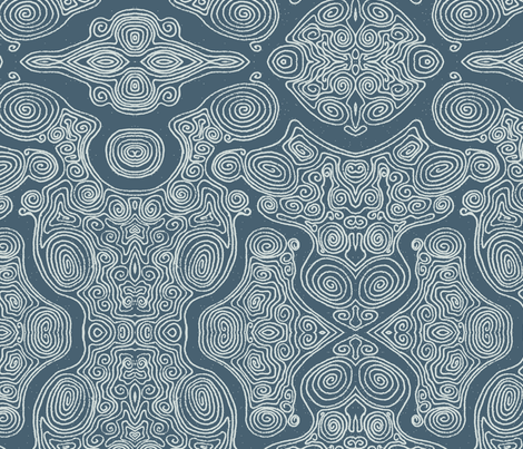 Swirls_-_blue_dark fabric by janicesheen on Spoonflower - custom fabric