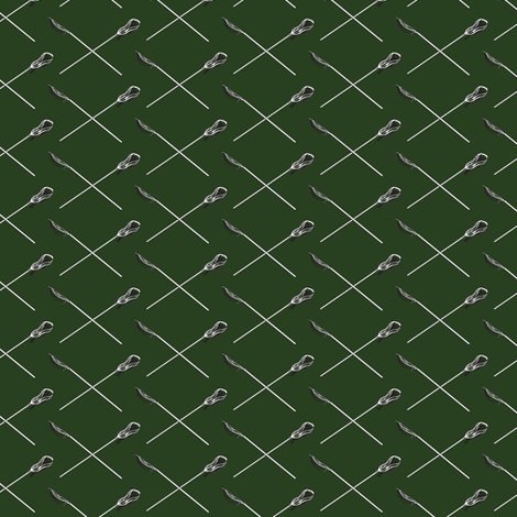Hunter Green Crossed Lacrosse Sticks fabric by jmckinniss on Spoonflower - custom fabric