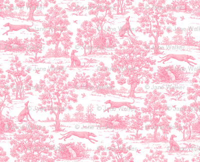 Light Pink Greyhound Toile ©2010 by Jane Walker