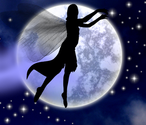 Moonlight Fairy Silhouette fabric by moonduster on Spoonflower - custom fabric