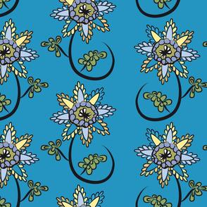 doodle flower in blue