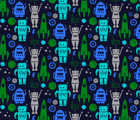 Rockets 'n Robots Navy fabric by leanne on Spoonflower - custom fabric