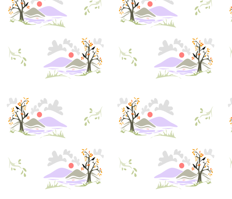 Crows_In_Autumn2 fabric by ikki_pokki on Spoonflower - custom fabric