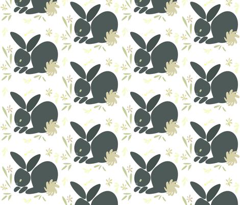Grey Bunny fabric by ikki_pokki on Spoonflower - custom fabric
