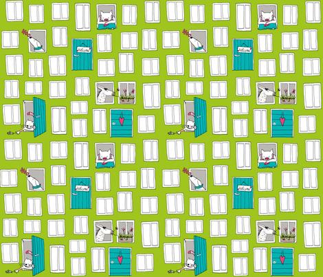 "SteffFabrics ""Windows and Doors"" Green fabric by steffstyle on Spoonflower - custom fabric"