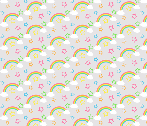 rainbow and stars fabric by kaddy_w on Spoonflower - custom fabric