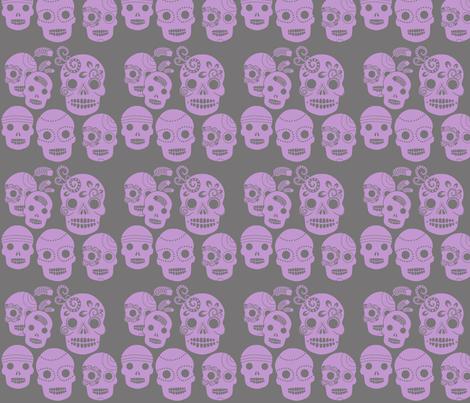Purple Sugar Skulls fabric by jnifr on Spoonflower - custom fabric