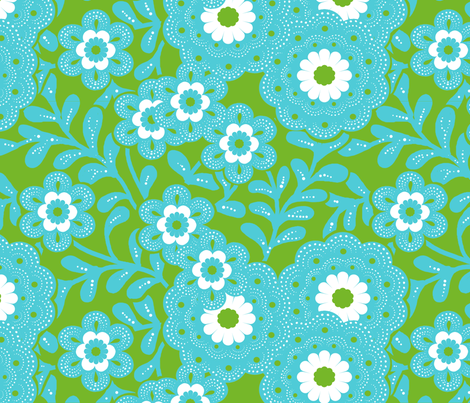 flower_power_green fabric by nadja_petremand on Spoonflower - custom fabric