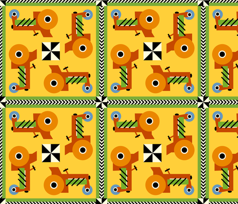 Tractors in Tracks fabric by cfhdesigns on Spoonflower - custom fabric
