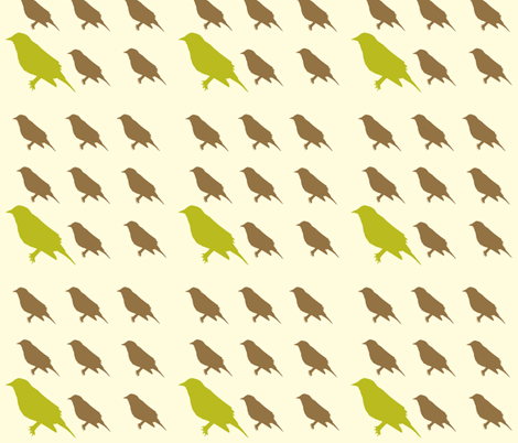 green_and_brown_birds fabric by featheredneststudio on Spoonflower - custom fabric