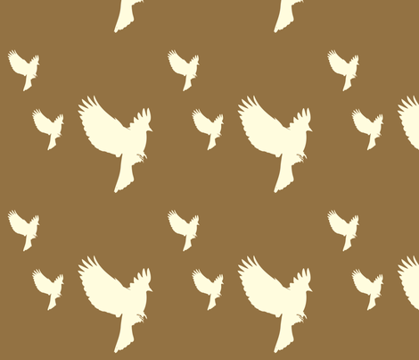 brown_with_white_swooping_birds fabric by featheredneststudio on Spoonflower - custom fabric
