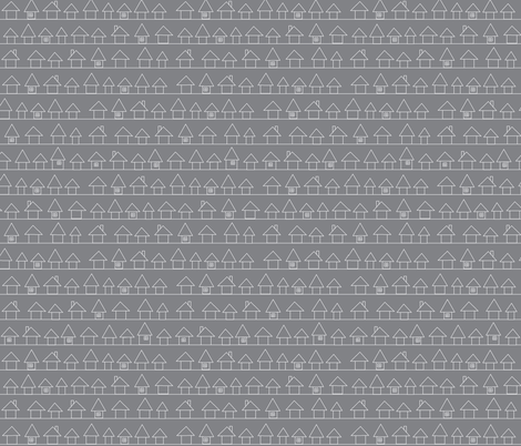 Houses in my Neighborhood- Gray  fabric by the_vintage_moth on Spoonflower - custom fabric