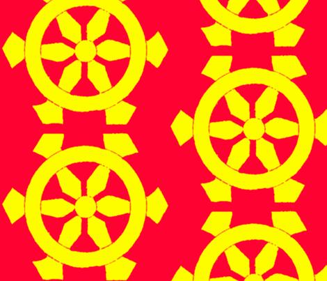 Red & Yellow Prayer Wheels-ed fabric by paulamarie on Spoonflower - custom fabric
