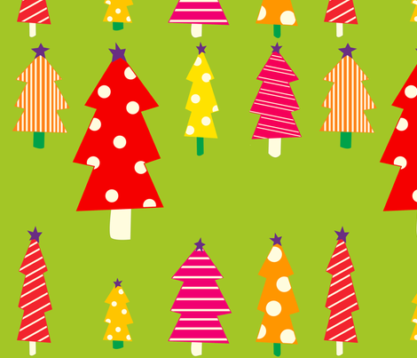 christmas_trees_green_background fabric by featheredneststudio on Spoonflower - custom fabric
