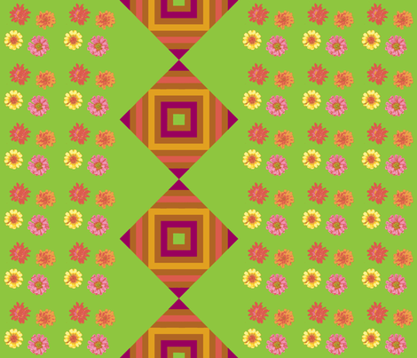 zinnias_and_Gods_Eye_border_Picnik_collage-ch-ch fabric by khowardquilts on Spoonflower - custom fabric