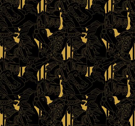 carousel_black_gold fabric by alexandra_eisenberg on Spoonflower - custom fabric
