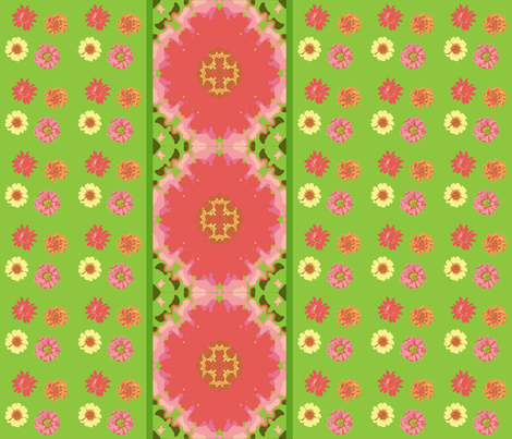 zinnias_and_mirrored_zinnia_border_Picnik_collage-ch-ch fabric by khowardquilts on Spoonflower - custom fabric