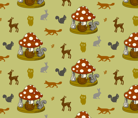 Woodland Carousel fabric by jenimp on Spoonflower - custom fabric