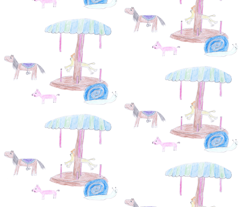 a run-away carousel fabric by magneetje on Spoonflower - custom fabric