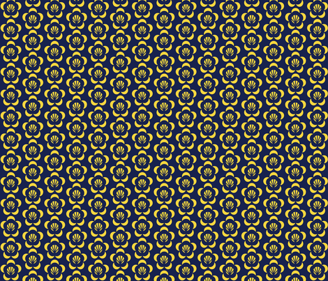 Cambodian Dark Blue And Gold Flower Fabric Amyperrotti
