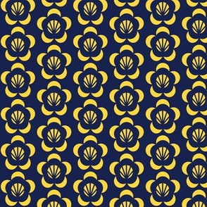 Cambodian Dark blue and Gold Flower