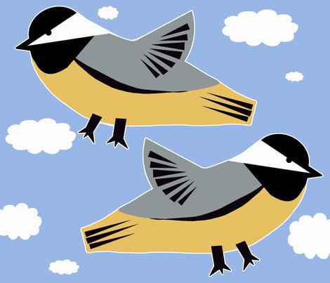 Chick-zilla Chickadee Pillow fabric by owlandchickadee on Spoonflower - custom fabric