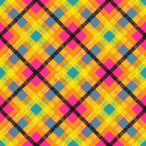 GoBaggery Whimsicle Tartan - Pink/Yellow/Orange/Turquoise/Black