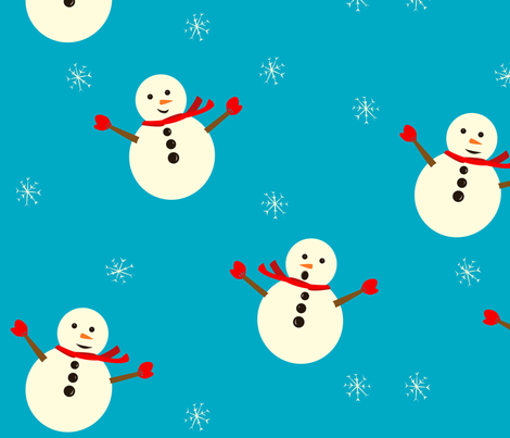 snowmen fabric by featheredneststudio on Spoonflower - custom fabric