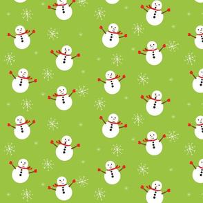 Snowmen On Green