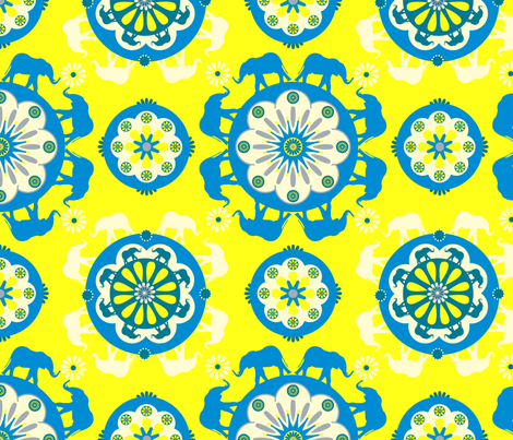Elephants Yellow fabric by royalforest on Spoonflower - custom fabric