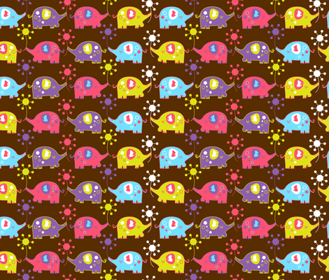 elephant brown fabric by malien00 on Spoonflower - custom fabric
