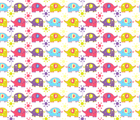 elephant white fabric by malien00 on Spoonflower - custom fabric