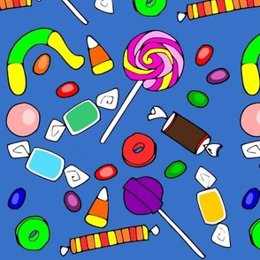 candy on blue background
