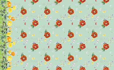 Moths and Marigolds Border Print - Pale Aqua Blue