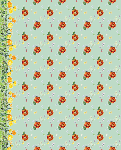 Moths and Marigolds Border Print - Pale Aqua Blue fabric by anntuck on Spoonflower - custom fabric