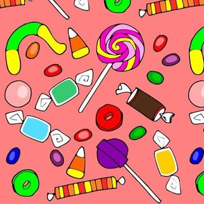 candy on pink background