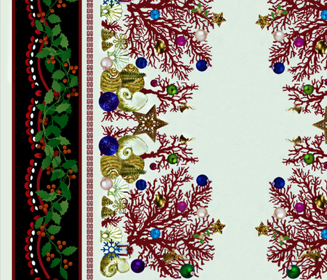 Red Coral Holiday 42' border fabric by paragonstudios on Spoonflower - custom fabric
