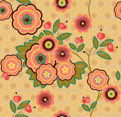 vintage floral beige