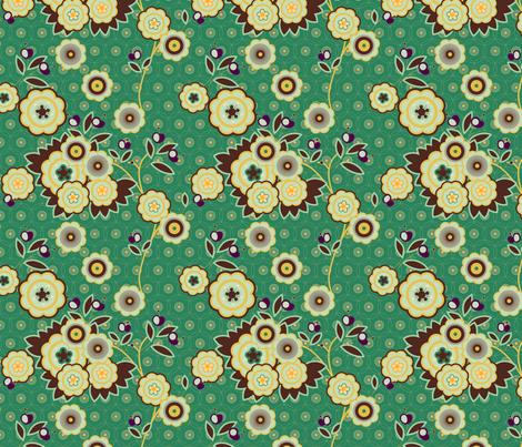 vintage floral teal fabric by fiona_mcdonald_juicyapple on Spoonflower - custom fabric