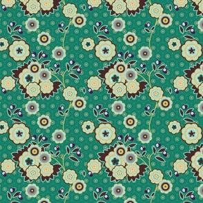 vintage floral teal