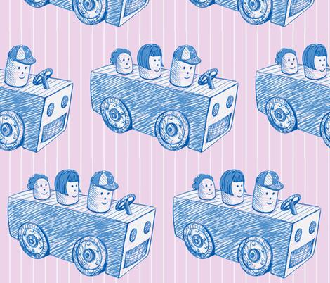 cartoon_car-pink_blue-ch fabric by hollishammonds on Spoonflower - custom fabric