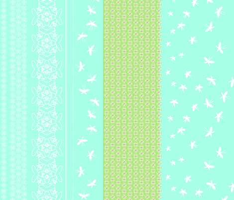 floral butterfly border tif fabric by fiona_mcdonald_juicyapple on Spoonflower - custom fabric