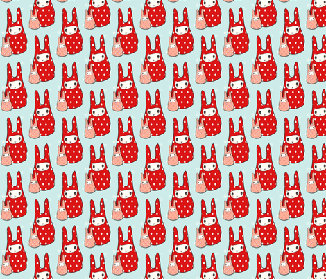 Rabbits fabric by hushaby&quirks on Spoonflower - custom fabric